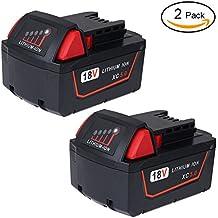 LYPULIGHT 18V 5,0Ah Batería de iones de litio de reemplazo para Milwaukee M18 XC Herramientas eléctricas de alta capacidad inalámbrica 48-11-1840 48-11-1850 48-11-1852 (2 paquetes)