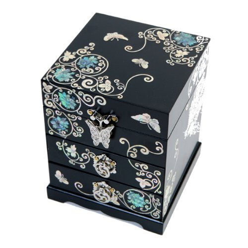 Nacre BIJOUX-BOIS LAQUE ASIATIQUE-Noir-Coffret cadeau-Boîte souvenir-Treasure-Organiseur Design fleurs imaginaires avec tiroir