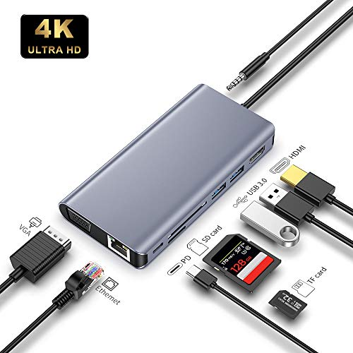 USB C Hub 9 in 1 USB C Adapter Aluminum Multifunktionsadapter mit HDMI 4K,VGA HD,2 USB 3.0 Anschlüsse, USB C Ladeanschluss,Gugabit Ethernet RJ45,SD/TF Kartenleser und 3,5mm Audio/Mikrofonanschluss