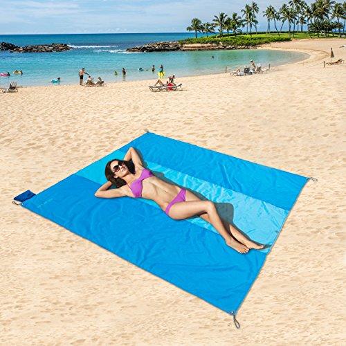 Tasche Decken, kompaktes Picknick/Strand Decke – XL Extra Groß (210 x 210cm) für 4–6 Personen (Hellblau / Dunkelblauer Streifen)