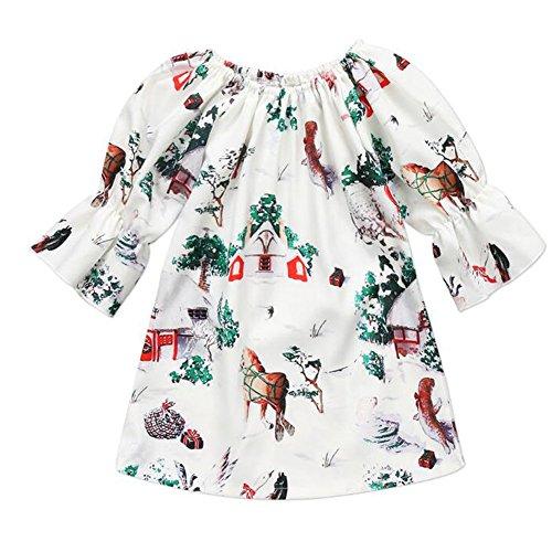Zooarts für 1-5Jahre Kinder Mädchen Weihnachts Hirsch Baum Print Prinzessin Kleid Rock Lange Ärmel Boutique Strampler Outfits, Multi, 80 cm(12-18 - 12 18 Monat Fancy Dress Kostüm