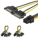 [2 Packungen] J&D 2 x SATA Leistung 15 Pin zu 6 Pin PCIe Express Grafikkarte Netzkabel Adapter