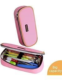 Trousse, Homecube Sac à stylos Trousse à crayons scolaire Solide durable Zipper pour les étudiants Filles (Rose)