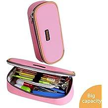 Estuche Escolar Homecube,Portalápices Plegable/ Artículo de papelería Ideal para Estudiantes Chicas (Color Rosa)