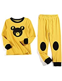 Hzjundasi 2Pcs Pijama Ropa de dormir Niños Manga larga Algodón PJs Gift Kids Prendas de dormir Pantalones Sets Ropa de casa para Chicos Chicas