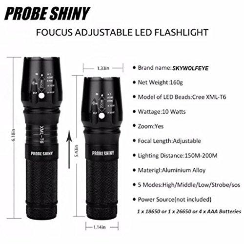 Tefamore Linterna Policía Táctica Zoomable X800 XML T6 LED + 18650 Batería + Cargador + Estuche (negro)