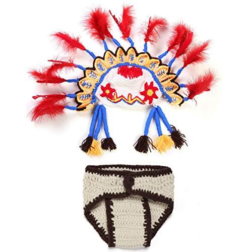 bienddyicho Indische Huhn Haar Anzug Handgestrickte Wolle Neugeborenes Baby Fotografie Anzug S?ugling Baby Kostüm Foto Prop Kostüm Kit - Huhn Anzug Kostüm