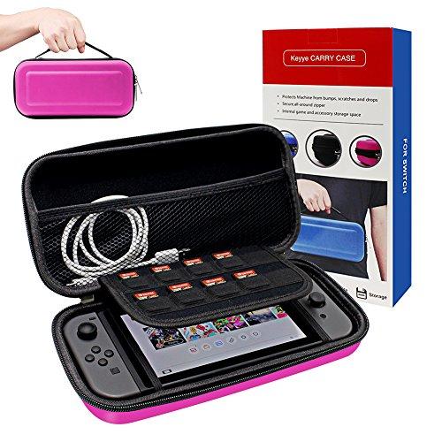 Funda para Nintendo Switch, Keyye Impermeable portátil de viaje bolsa con Shell protector duro Más grande Espacio de almacenamiento para 10 cartuchos de juego, Switch Console e Otro Accesorios-Rosa