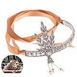 Beito Frauen 1920er Jahren große Gatsby Vintage Style Crown Kristall-Perlen-Kronen-Brautstirnband für Hochzeit Cosplay - Silber