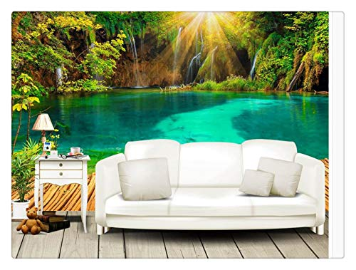 Fototapete Foto Fototapete Custom Any Size 3D Wandbild Tapete Original Schöne 3D Sonnenschein Lake Trestle Greenwood Tv Hintergrundwand, 400Cmx280Cm Greenwood Wallpaper