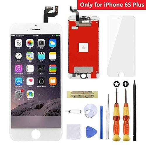 hscreen digitizer glas ersatz montage mit hochwertigen repair tool kit + anleitung + gehärtetem glas displayschutzfolie für iphone 6S plus 5,5 zoll weiß ()