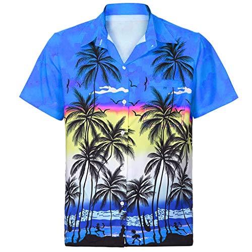 YEBIRAL Polos Manga Corta Hombre Manga Corta Básico Polo con Botones Camisa Hawaiana Hombre Camiseta Fruta Floral Estampado Formales Tops(XL,B-Azul-2)