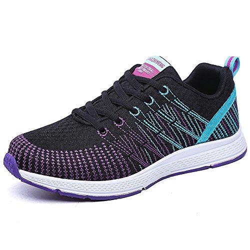 Zapatillas de Deportivos de Running para Mujer Gimnasia Ligero Sneakers Morado 39