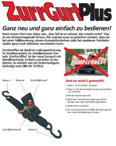 Automatischer Spanngurt Zurrgurt Plus S-Hacken 3m 25mm