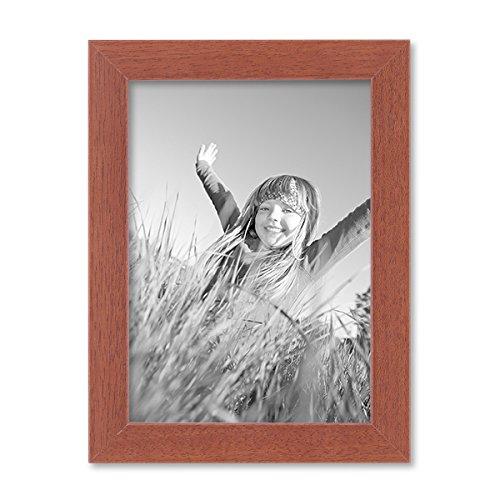 PHOTOLINI Bilderrahmen 13x18 cm Kirsche Modern Massivholz-Rahmen mit Glasscheibe und Zubehör/Fotorahmen - Kirsche Rahmen