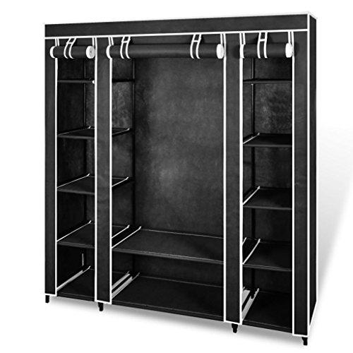Fzyhfa armadio in tessuto con scomparti ed aste 45x150x176 cm nero design unico, comodo, confortevole e bello, robusto e resistente. cassapanca contenitore cassapanca da interno