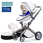 Hot Mom Kombikinderwagen mit Buggyaufsatz und Babywanne 3-in-1 Travelsystem Funktion 2018, weiß