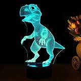 3D LED Luce Notturna RGB 7 colori Change Illusione ottica Tavolo Smart Touch da tavolo Scrivania comodino Sensitive Touch Control USB Charge Table Desk Camera da letto Decorazione Lamp dinosauro