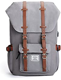 KALIDI 17 inch Canvas Laptop Backpack Unisex Travel Rucksack Casual Backpack School Bag External USB port for Hiking,Camping,Traveling,Gray