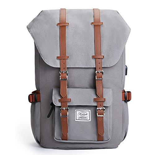 KALIDI Schulru Tasche Laptop Canvas Lässig Tagesrucksack mit USB Ladeanschluss Rucksack 50 cm, Grey