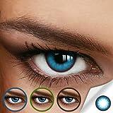 Farbige Jahres-Kontaktlinsen ANY BLUE - Ohne Stärke in BLAU - intensiv/stark deckend - von LUXDELUX® - (+/- 0.00 DPT)