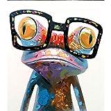 Animales abstractos Rana con gafas Cuadro al óleo Imagen por números Módulo Imagen para colorear a mano Regalo único Decoración para el hogar 40x50cm Sin marco
