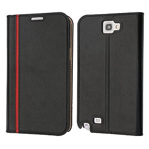 Samsung Galaxy Note 2 Hülle, Coodio Echt Ledertasche, Samsung Galaxy Note 2 Brieftasche, Modisch Lederhülle Tasche Schutzhülle mit Kartenfach Standfunktion für Samsung Galaxy Note 2
