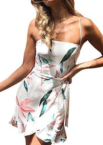 ECOWISH Blumenkleid Damen Sommerkleider Kurz Ärmellos Strandkleider Partykleid Träger Rückenfreies kleider Rosa Weiß S