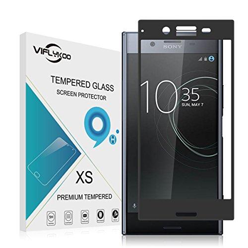VIFLYKOO Sony Xperia XZ Premium Panzerglas Schutzfolie,9H Härtegrad Anti-Bläschen Anti-Kratzen Anti-Öl 99% Transparenz Panzerfolie Hartglas Glasfolie für Sony Xperia XZ Premium Schwarz