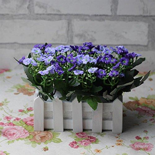 Life Up® Künstliche Blumen im Topf Kunstblume Deko mit Blumentopf Blumenkasten Holz Kunstpflanzen Garten Retro Stil 20*14*14cm Dunkelviolett + Hellviolett