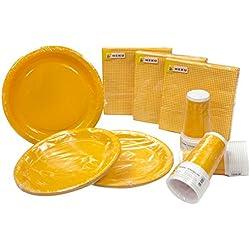 Heku 30005Set de Fiesta con Platos, Vasos y servilletas Desechables, 120Piezas, Naranja, 40x29x7 cm
