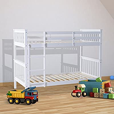 HOMCOM 3ft Single Wooden Bunk Bed Frame ONLY for Adult Children Twin Double Sleeper Bedroom Furniture – White - low-cost UK light store.