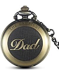 gorben reloj de bolsillo envejecido de cuarzo, con cadena, para hombre, con caja