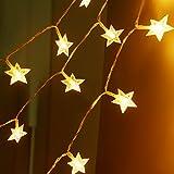Sunnest Guirlandes Lumineuse LED - Guirlande Guinguette Etanche Chaine de lampes étoilé - Blanche Chaude 5 mètres 40 ampoules
