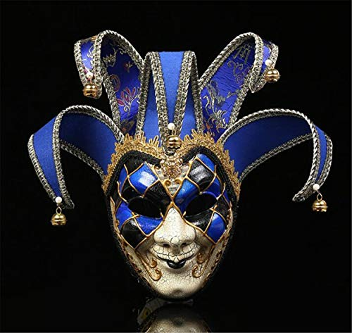 LPP Halloween-Maske, kreative Clown Dress Up Weihnachten Kostümparty, farbige Zeichnung, gehobene seltsame Wangenschleier Blue