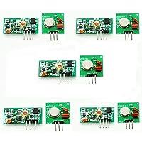 ARCELI 5pcs 433Mhz Transmisor de RF y Kit de Enlace de Receptor para Arduino