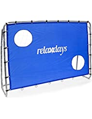 Relaxdays Bâche tir au but cage entraînement football  Paroi tir au but avec 2 trous 2 cibles avec poteaux Dimensions: H x L x P 152 x 212 x 76  cm, bleu