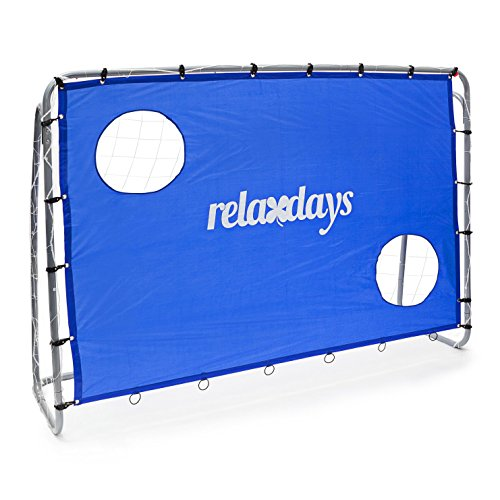 Relaxdays Porta da Calcio con Telo, 2 Fori, HBT 152 X 212 X 76 cm, Telaio in Metallo, Blu