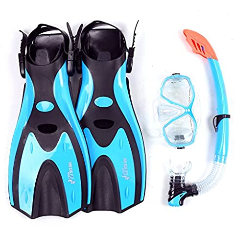 Mask Snorkel Fins / Flippers PVC Diving Set (Adults) - Scuba Dive Snorkelling Sets (S / M (UK4.5 - 8.5), Aqua)