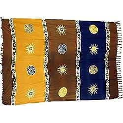 Guru-Shop, Pareo, Tapiz, Falda del Abrigo, Vestido Pareo, Marrón, Viscosa, Tamaño:One Size, 160x100 cm, Pareos, Toallas de Playa