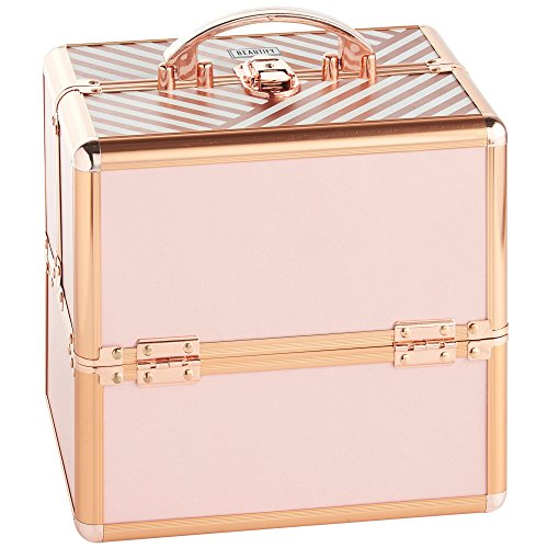 Beautify Beauty Case Professional Small Lockable Vanity Make Up Cosmetics Storage Organiser - Blush Pink Stripe/Rose Gold