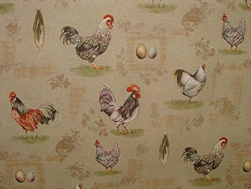 Rustikal Leinen Vorhänge (halben Meter Rustikal French Hens Huhn Eier Vintage Leinen Vorhang Designer Möbelstoff,)