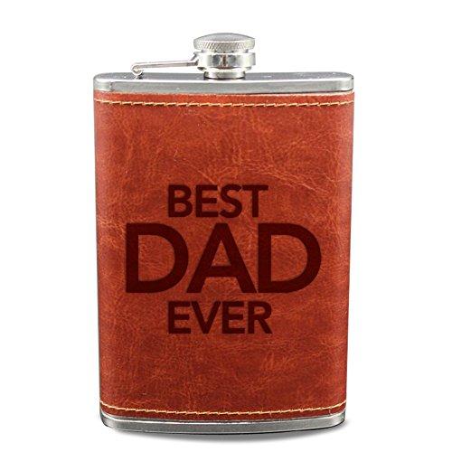 Best Dad jamais gravé Flasque pour Liqour pour papa Marron Cuir PU Wrap flacons cadeaux fête des pères cadeaux