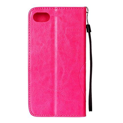 iPhone 7 Flip Cover, iPhone 7 Handyhülle mit Lanyard, iPhone 7 Bumper Flip Case, Moon mood® Mit Diamanten Ledertasche Brieftasche für iPhone 7 (4.7 Zoll) ,PU Leder Hülle Wallet Case Folio Schutzhülle  V-Stieg rot