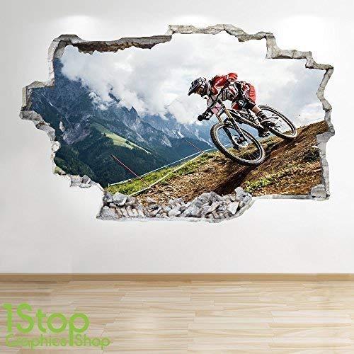 1Stop Graphics Shop Mountainbike Wandaufkleber 3D Optik - Kinder Schlafzimmer Extrem Stunt Wand Abziehbilder Z677 - Small: 50 cm x 79 cm