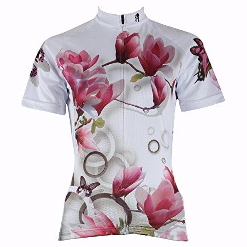 ILPALADINO Women Flower Breathable Cycling Bike Long rides Short Sleeve Jersey (283-Jersey, XS)