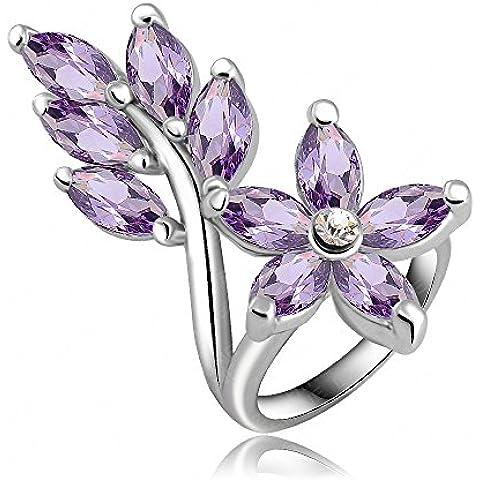 Wutly(TM) pi¨´ calda Violet Leaf anelli di fidanzamento classico della moda / Promise Ring con platino placcato zircone gioielli da sposa Ri-HQ0166