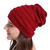 UJUNAOR Frauen Baggy Warme Winter Stricken Hut Ski Beanie Caps Mütze Plissierter Strickhut Süßes Mädchen(Rot)