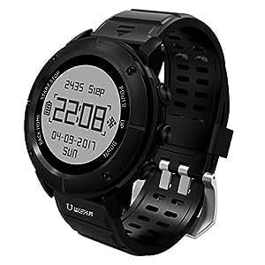 UWEAR Orologio sportivo intelligente GPS impermeabile Escursione e corsa in esecuzione Sport Watch con monitoraggio cardiaco / SOS / Compass / Meteo / Barometro e altimetro per gli escursionisti (nero)
