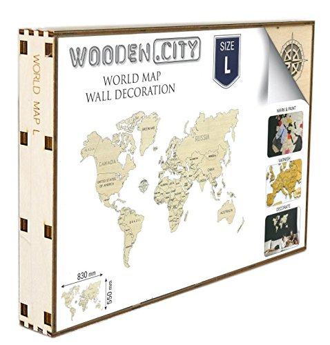 World Map Wood L